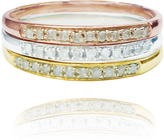 Ice 1/4 CT TW White Diamond Polished 10K 3-Tone Gold Stackable Fashion Ring