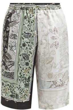 Givenchy Atlantis-print Satin Shorts - Green