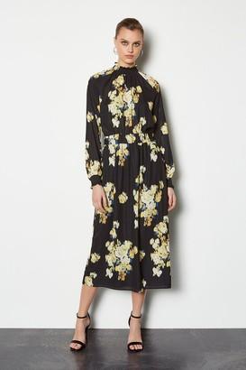 Karen Millen Blurred Floral Sleeved Midi Dress