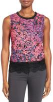 T Tahari Sienna Print Lace Tank