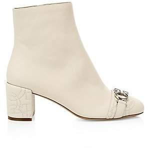 Salvatore Ferragamo Women's Primula Cap-Toe Leather Ankle Boots