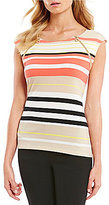 Calvin Klein Variegated Stripe Matte Jersey Zipper Trim Top