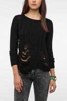 Sparkle & Fade Slashed Cable Knit Sweater