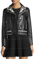 RED Valentino Leather Moto Jacket w/ Star & Lightning Bolt Intarsia