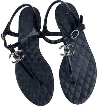 Chanel Black Patent leather Sandals