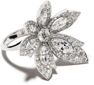 David Morris 18kt white gold diamond Palm one flower ring