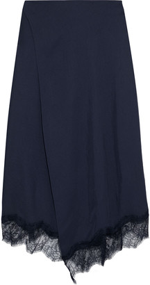 Vince Wrap-effect Chantilly Lace-trimmed Satin-twill Midi Skirt