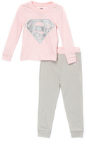 Intimo Supergirl Pink & Gray Pajama Set - Infant, Toddler & Girls