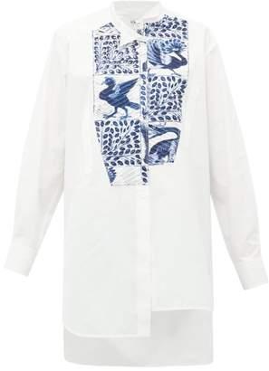 Loewe Peacock-print Panel Cotton Shirt - Womens - White Multi