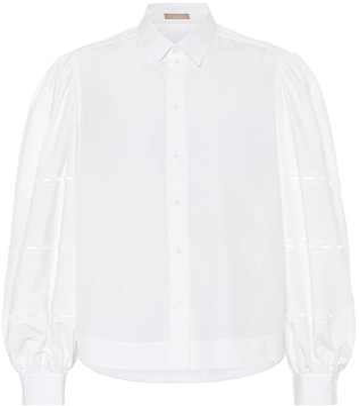 Alaia Puff-sleeve cotton-poplin shirt