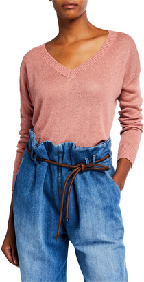 Brunello Cucinelli V-Neck Paillette Long-Sleeve Linen/Silk Sweater