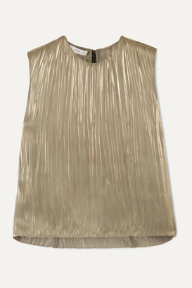 Vince Pleated Lame Top - Silver