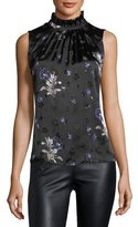Rebecca Taylor Sleeveless Star-Burnout Blouse with Floral-Print