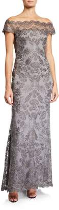 Tadashi Shoji Metallic Lace Off-the-Shoulder Illusion Gown