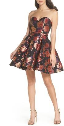 Mac Duggal Strapless Metallic Jacquard Fit & Flare Dress