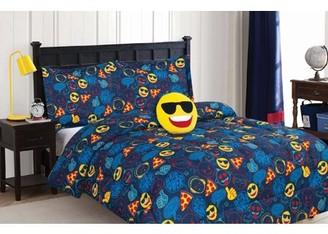 Dream Big Cool Guy Emoji 4-Piece Comforter Set with Decorative Pillow