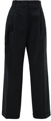 Wales Bonner Tailored Cotton-blend Twill Wide-leg Trousers - Womens - Black