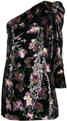 Self-Portrait Midnight Bloom one-shoulder dress