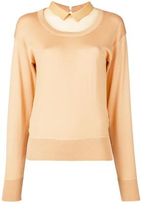 No.21 Sheer Panel Sweatshirt