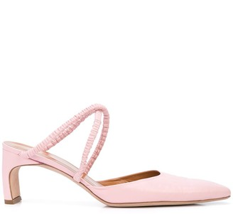 Rosetta Getty Heeled Ruched-Strap Mules