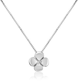 Forzieri 0.15 ct Diamond Flower Pendant 18K Gold Necklace