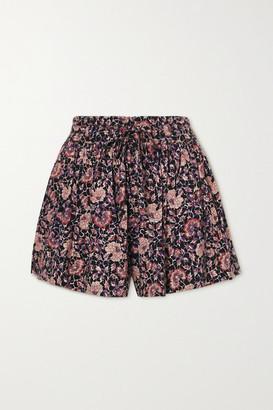 Ulla Johnson Kira Gathered Floral-print Cotton-blend Shorts - Plum