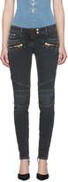 Balmain Black Distressed Biker Jeans