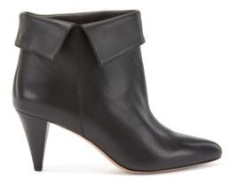 HUGO BOSS Ankle Boots In Italian Leather With Turn Over Collar - Black