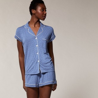 Love & Lore Love And Lore Pj Short Set Denim Blue And Whisper White Extra Large