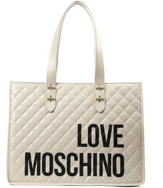 Love Moschino Ivory Pvc Quilted Tote Bag