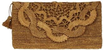 Marylou Brown Handmade Lace Raffia Evening Clutch Bag