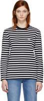 MAISON KITSUNÉ Black and White Striped Tricolor Fox Patch T-Shirt