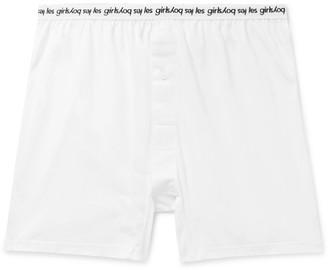 Les Girls Les Boys Grosgrain-Trimmed Cotton-Jersey Boxer Shorts - Men - White