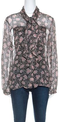 Giorgio Armani Black and Pink Floral Print Sheer Silk Blouse L