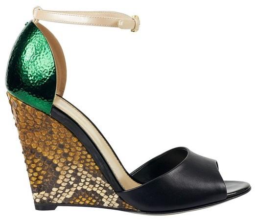 Sergio Rossi Wedge Python Sandals