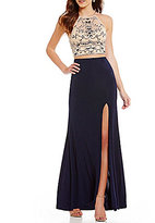 B. Darlin Tonal Beaded High-Neck Illusion-Yoke Long Open-Back Two-Piece Dress