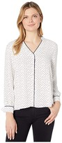 Vince Camuto Long Sleeve Ditsy Fragments Button-Down Blouse (Pearl Ivory) Women's Blouse
