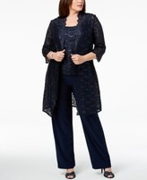 Thumbnail for your product : R & M Richards 3-Pc. Plus Size Sequined Lace Pantsuit & Shell