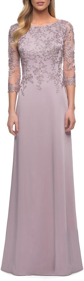 La Femme Floral Applique Jersey Column Gown