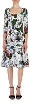 Erdem Yuki Garden 3/4-Sleeve A-Line Dress, Red/White