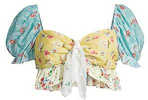 LoveShackFancy Women's Soleil Floral Puff-Sleeve Crop Top