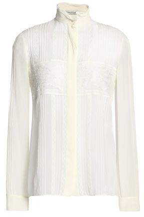 Valentino Lace-Trimmed Pintucked Silk Crepe De Chine Blouse