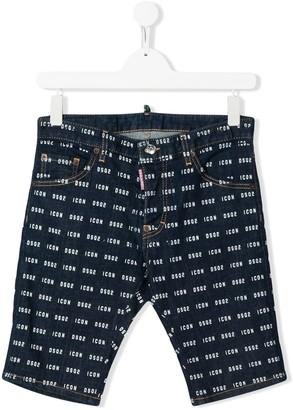 DSQUARED2 TEEN Icon pattern denim shorts