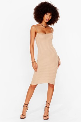 Nasty Gal Womens Baby Ribs You Fitted Midi Dress - Beige - 14