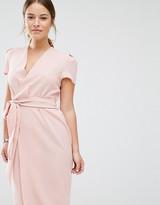 Alter Petite Wrap Front Tie Waist Dress