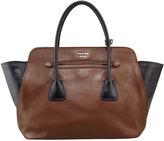 Bicolor Soft Calfskin Tote Bag, Brown/Black (Palissandro+Nero)