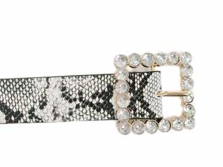 A365 New Women's Black and White Snakeskin Belt With Square Diamante Buckle Detail Fashion Occasion Everyday Style