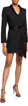 Alice + Olivia Mona Strong-Shoulder Tie-Front Suit Dress