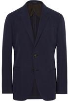 Ermenegildo Zegna Navy Slim-fit Unstructured Cotton And Cashmere-blend Twill Blazer - Navy