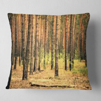 East Urban Home Forest Beautiful Pine at Sunset Pillow East Urban Home